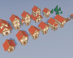 3D model low-poly Cartoon village