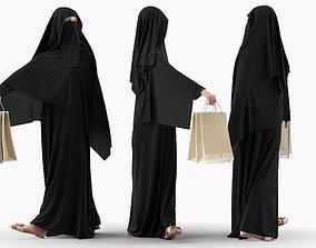 3D Woman wearing Saudi Arabian hidshab posed holding 1