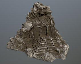 skull cave rock 3D asset low-poly