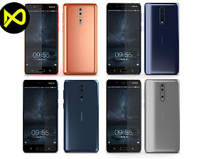 3D model tempered Nokia 8 All Colors
