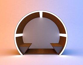 Circular modern glow scifi bus stop concept 2 3D model