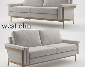 Leon Wood Frame Loveseat 68 by West Elm 3D model