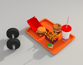 3D model burger Low poly fastfood and dumbbell