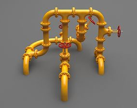 3D model PBR Industrial Pipes Middle