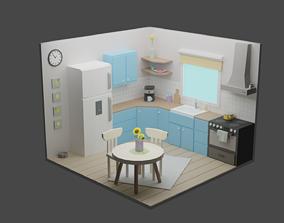 3D asset low-poly Kitchen 16
