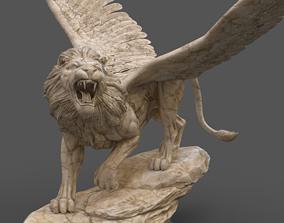 Winged Lion Sculpture Marble Statue Daniel 7 3D asset 1
