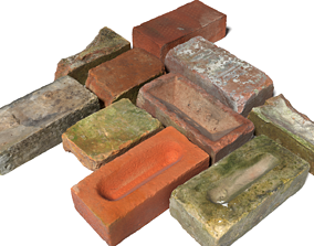 Ultra Realistic Old Brick Scan Pack 8k HD 3D model