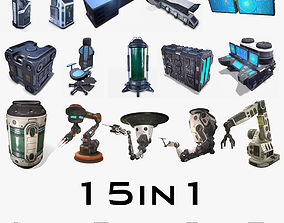 3D model Sci Fi Props Low Poly collection