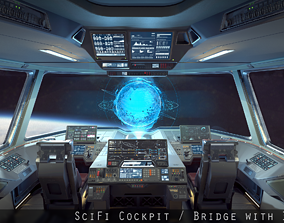 Sci Fi Fighter Cockpit Bridge 6 3D model