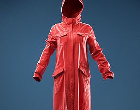 Long Green Coat Hoodie 3D model