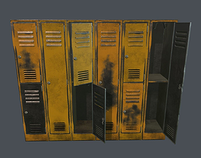 3D model Old Damaged Metal Locker PBR Game Ready