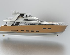 luxury Yacht 3D model animated