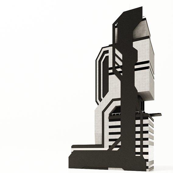 3d - sci fi building model