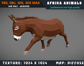 animated Low Poly Donkey Cartoon 3D Model Animated - Game