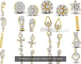 jewel 100 Women earrings 3dm render detail