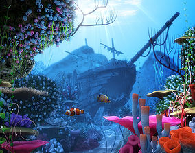 3D model Cartoon Underwater Ship Scene plant