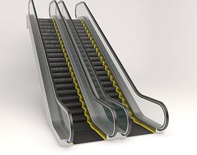 Animated up an down escalator 3D
