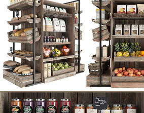 Shelves with products 3D model