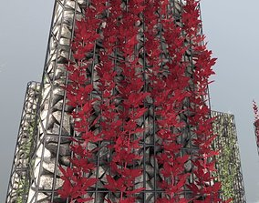 3D model Wild Wine Vine - Autumn - on Gabion Wall - 1