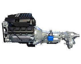 3D model Black Cover Dodge Ram V8 Engine with Transmission