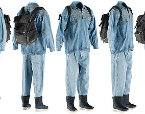Mens Jeans with Pullover Boots Backpack and 3D model 1
