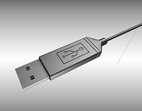 3D USB 3 Cable High Poly Version
