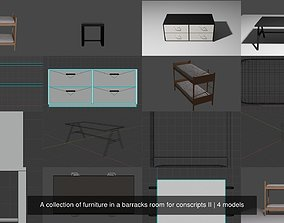 A collection of furniture in a barracks room 3D model 2