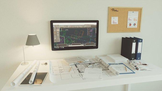 office-set-architect-3d-model-max-obj-mt