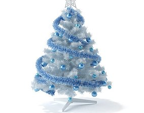 White And Blue Christmas Tree 3D model