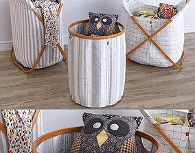 3D Foldable Laundry Basket owl