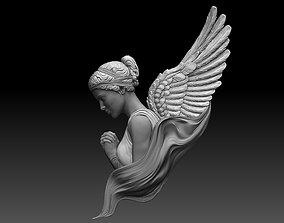 angel female Bas Relief 3D print model cnc