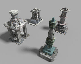 3D model 4 low poly temple pillars collection