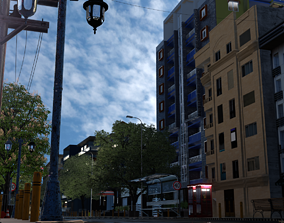 City street 3D asset animated