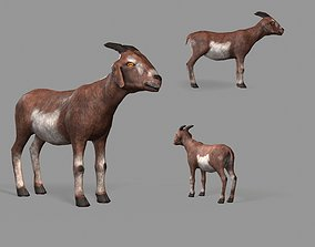 3D model VR / AR ready Goat Lowpoly