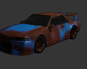3D asset game-ready Wrecked Car