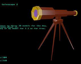 3D model Low poly telescope 2