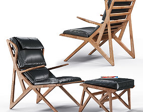 3D model Triangle Armchair and Foot Rest