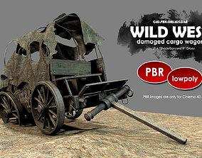 Wild West Damaged Wagon 3D model realtime