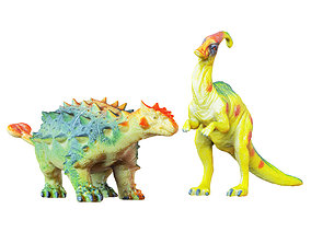 Two Toys Dinosaurs Parasaurolophus and 3D model