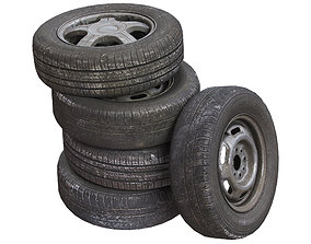 Old wheels for car PBR 3D
