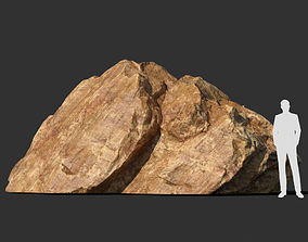3D model Low poly sharp blocky Yellow rock formation 7 -
