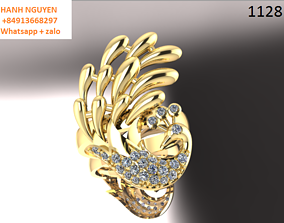 peacock ring jewelry 3D