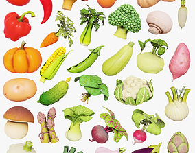 Cartoon vegetables mushrooms and fruits set 3D model
