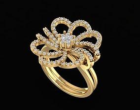 3D print model 1656 Diamond flower ring