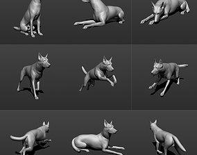 German shepherd dog in six poses 3D printable model