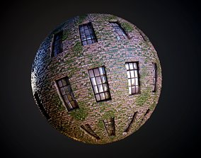 Brick Building Vines Seamless PBR Texture 3D model