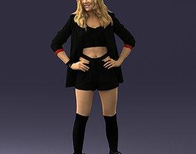 Girl in black mini skirt 0324 3D Print Ready