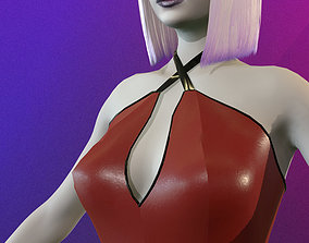 low-poly Latex sexy game ready girl 3D