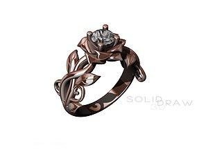 Ring Engagment Solitaire Ring Flower 3D print