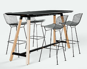Knoll Bertoia Barstool and Rockwell Unscripted 3D model 1